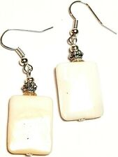 Silver Mother of Pearl Shell Earrings Antique Vintage Style Pierced