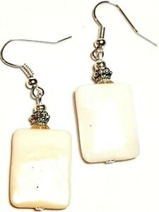 Silver Mother of Pearl Earrings Antique Vintage Style Vintage Chic Boho Style