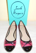 Jack Rogers Lively Ballet Flats Red & Black Leather size 7.5 Medium NIB $198