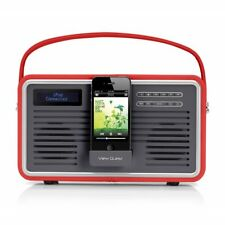 View Quest DAB + Retrò Radio FM 30-Pin iPod iPhone Dock con Aux-In Rosso * Grado A *