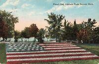 Postcard Floral Flag Gladwin Park Detroit Michigan