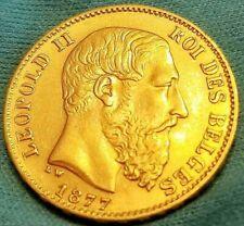 Pristine 1877 BELGIUM  Leopold II Gold Coin 20 Francs KM#37