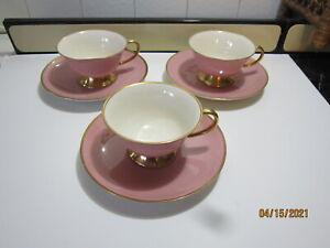 Flintridge China Made in California Sylvan Rose Gold Rim Set of 3-Cups & saucers