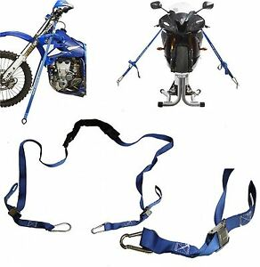 Qtech Motorcycle Handlebar Tie Down Ratchet Strap Set Motorbike, Dirt-bikes, MX