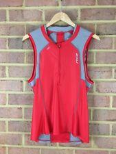 2Xu Compression Tri Singlet Red Gray Back Pockets Zip Vest Xxl