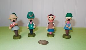 Vtg Erzgebirge Wooden Villagers Hiking in Forest w/ Wire Arms Set of 4  Germany