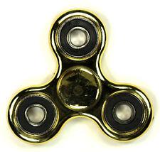 Metallic Chrome Gold - Tri FIDGET Spinner Ceramic Ball Hand SPINNER Desk Toy