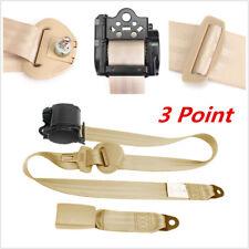 Automatic Retractable 3 Point Safety Seat Belt Lap Seatbelt Black For Car Truck