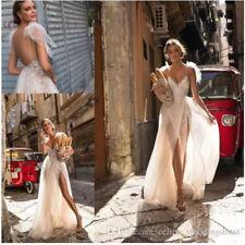 2018 A Line V Neck Spaghetti Berta Beach Wedding Dresses Sweep Train Bridal Gown