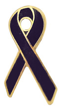 Black Mourning Ribbon Pin Badge For Funerals - Gold Plated