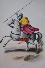 GRAVURE-ARTHUR MACMURROCH ROI DE LENSTER-COSTUMES MOYEN AGE 1847-ANTIQUE  PRINT