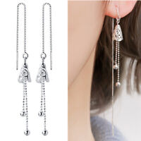 Solid 925 Sterling Silver Filigree Bell Dot Bead Pull Through Threader Earrings