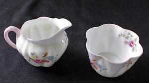 Vintage SHELLEY Bone China England Pattern #13425 Set Open Sugar Bowl Creamer
