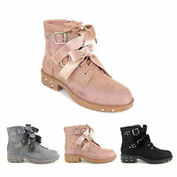 New Womens Ladies Suede Studded Spikes Velvet Bow Buckle Biker Ankle Boots Shoes
