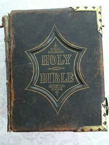 Antique 19th Century Scott & Henry Illustrated Family Holy Bible Leather Bound