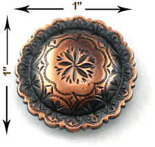 Conchos Lot Of 6 Pcs Antique Copper Engraved Windrose Western Leather Craft 1""