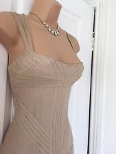 STUNNING KAREN MILLEN NUDE SILK BEADED FLOATY DRESS 10