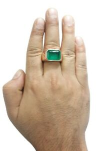 10ct Green Emerald Inclusion Men's Ring 14k Rose Gold Plated Wedding Groom Jewel