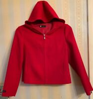 CAROLE LITTLE Petite Small HAND MADE 100% Wool RED HOODED Jacket w/Pockets NWOT