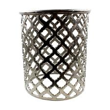 Round Silver Aluminium Occasional Side Table Moroccan Shabby Vintage Chic