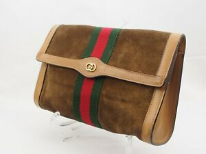 【Rank B】Auth GUCCI Vintage Pouch Clutch Sherry Line Suede Leather From Japan A99
