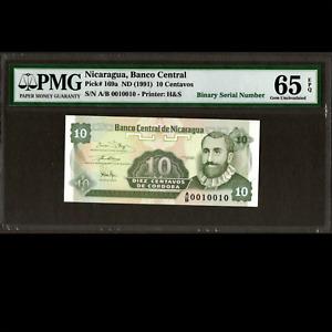 Nicaragua 10 Centavos 1991 BINARY SERIAL NUMBER PMG 65 GEM UNC EPQ P-169a