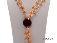 and Agate Necklace- Christmas Gift 8x10mm Yellow Oval Pearl and Crystal