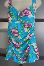 Swimdress Swimsuit Bathing Suit Tropical Print Aqua Skirted Sz 14