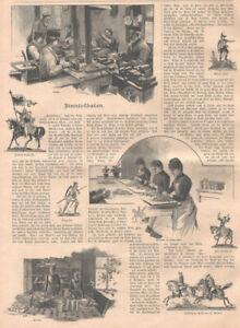 """""""Zinnsoldaten"""" Fa. Ernst Heinrichsen,Nürnberg Blatt mit 12 Abb. Holzstich v.1892"""