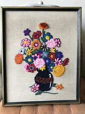 70s needlepoint bright and summery flowers in a vase- framed art
