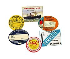 Luggage Label Steamship Stickers Set, 6 REPRODUCTIONS, Steam Trunk Baggage Tags