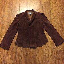 Newport News Leather Jacket Coat Size 8 Brown Zipper/Hook Front Women's