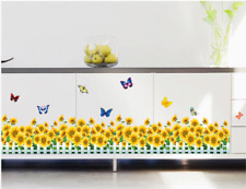 Sunflower Fences Skirting Wall Sticker Colorful Butterfly Wall Decals Home Decor