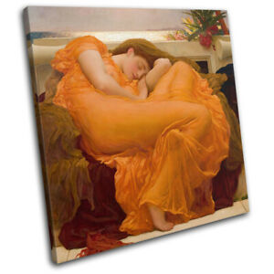 Frederic Leighton Flaming June Vintage SINGLE CANVAS WALL ART Picture Print