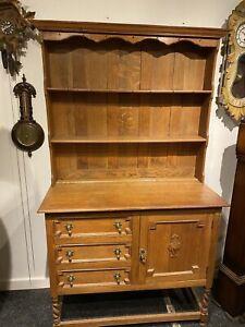 Antique Country Rustic Oak Farmhouse Kitchen Dresser