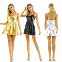 Womens Sexy Shiny Metallic Party Cocktail Mini Dress Ladies Flare Skater Dresses