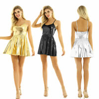Women Shiny Metallic Flared Swing Dress Evening Party Cocktail Skater Mini Dress
