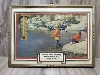 Vintage advertising picture with thermometer Rugby, N. Dakota Fishing, Market