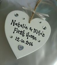 FIRST NEW HOME GIFT HOUSEWARMING KEEPSAKE COUPLE PERSONALISED HEART PLAQUE SIGN