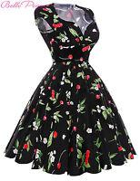 Plus Size Ladies Housewife Ploka/Floral Swing Pinup 50s 60s Retro Vintage Dress