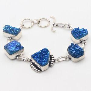 """Titanium Druzy Sterling Silver Plated Bracelet 8"""" Gemstone Jewelry W12590"""
