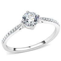 a018 SOLITAIRE ENGAGEMENT SIMULATED DIAMONDS STAINLESS STEEL RING CLEAR WOMENS