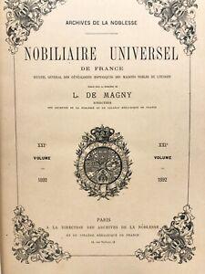 Archives noblesse NOBILIAIRE UNIVERSEL de France L. DE MAGNY histoire GÉNÉALOGIE