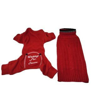 "Lot 2 XS Dog Sweaters Pajamas Red ""Waiting For Santa"""