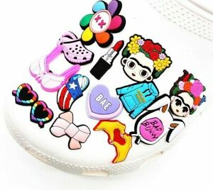 Flowers Blue Jumper PVC Shoe Charms Colorful Sunglasses Lipstick Bow Accessories