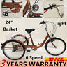 """Adult 24"""" 3Wheel 6Speed Tricycle Trike Bicycle Bike Cruise Basket As a Gift DHL"""