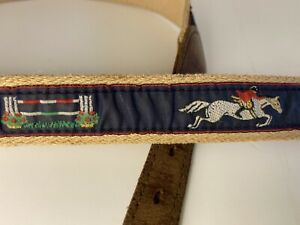 Canvas & leather belt sz 28 30? unisex steeplechase equestrian horse youth adult