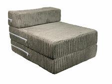 Charcoal Jumbo Cord Single Chair Sofa ZBed Seat Foam FoldOut Futon Guest Kids