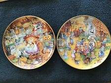 """2 Bill Bell Franklin Mint Collector Plates """"Scaredy Cats"""" & """" A Purrfect Feast�"""
