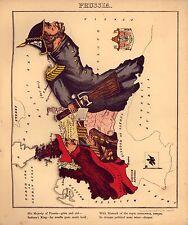 Prussia Vintage Antico Vecchio Colore Riproduzione Mappa da geografica divertente Atlas of 1869